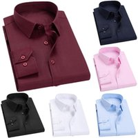 Business Men Solid Color Long Sleeve Pocket Cotton Plus Size Buttons Down Shirt Elegant Groom Wedding Party Top Accessory