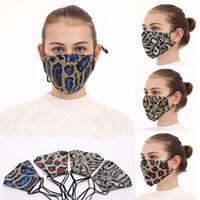 US STOCK Fashion Bling Bling Leopard Sequins Face Mask Dustproof Mouth Masks Designer Washable Reusable Women Face Mask FY9240
