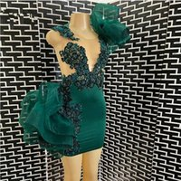 Wholesale short cocktail dresses emerald green resale online - Elegant Emerald Green Lace Short Cocktail Dresses Beaded Ruffles Mini Homecoming Party Gowns Prom Dress Vestidos