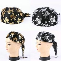 Wholesale caribbean hats resale online - 3QKc5 Halloween props cap show round Caribbean Captain hat gold silver hot pirate ship pattern pirate ship stamping shipProps bNppR