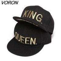 Wholesale flat billed hats for sale - Group buy VORON KING QUEEN Gold letters Embroidery Snapback Hats Flat Bill Trucker Hats Acrylic Men Women Gifts for Him HerX1016