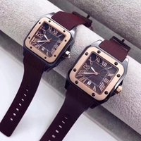 Wholesale valentine pins for sale - Group buy Hot sale Fashion men women lovers watches dress gold Square quartz watch Rome Numbers wristwatches for Mens ladies best Valentine Gift