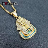 Discount kings link gold chain Punk Silver Gold Color Ancient Egypt King Tut Pharaoh Pendant Necklace zircon Cuban Chain Stainless Steel Men's Hip Hop Bling