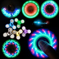 Wholesale figet toys resale online - Christmas Gifts for Kids Luminous LED Fidget Spinner Hand Top Spinners Glow in Dark light EDC Figet Spiner Finger Stress Relief Toys