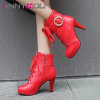 Wholesale spiked platform boots for sale - Group buy ANNYMOLI Ankle Boots Super High Heel Woman Boots Zip Platform Spike Heel Short Lace Up Buckle Lady Shoes Autumn Winter