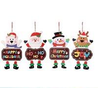 Wholesale christmas doors decorations for sale - Group buy Christmas Door Hanging Paper Santa Snowman Elk Bear Pendant Welcome door Window Decorations Hanging Home Window Christmas Decoration OWC3507