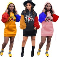 Wholesale puff sleeve dress resale online - Women Casual Dress Hooded Long Sleeve Contrast Embroidery Puff Sleeve Sweater Dresses Fall Ladies New Fashion Skirt