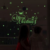 Wholesale stickers for free resale online - Merry Christmas Glow Snowman Wall Fluorescence Stickers Living Room Luminous Stickers Window Decor For Home Mall DHL GWD2042