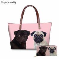Wholesale handbags for dogs for sale - Group buy Nopersonality Cute Pug Dog Print Handbags for Women Summer Beach Big Bags Female Tote Bag Fashion Shoulder Bags Sac A Main