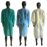 Non-woven Gown 3 Colors Unisex Disposable Raincoats Protection Kitchen Apron Dustproof Protective Raincoats SEA SHIPPING CCA12603