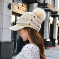 Wholesale ball spots for sale - Group buy Spot wool women three button knit cap warm dome casual wool ball adult cap one hand supply