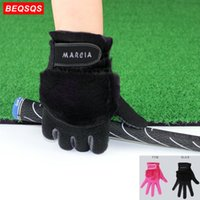 Wholesale golf glove left hand for sale - Group buy 1Pair Fashion Women Winter Golf Gloves Pink Black Golves Anti slip Artificial Fur Warmth Fit for Left and Right Hand