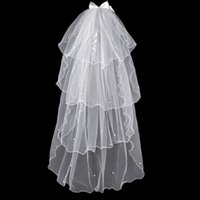 Wholesale bow veils for sale - Group buy Sweet Short Tulle Wedding Veils Layers With Pearl Bow White Ivory Bridal Veil for Bride for Marriage Wedding Accessories