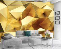 Custom Golden Geometric 3d Wallpaper European Luxury Polygon Wall Papers Living Room TV Background Home Improvement Mural Wallpapers