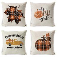 Wholesale sea home decor resale online - Halloween Pillow Case Pumpkin Sofa Throw Pillowcase Printed Plaid Pillow Case Cover Pillowslip Car Office Home Decor YYA500 sea shipping