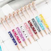 Wholesale free christmas stationery resale online - New Arrival Cute Metal DIY Blank Cat Ballpoint Pens Wedding Office Stationery Christmas gift