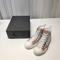 Wholesale gold designer sneakers resale online - 2020 B23 Oblique High Low Top Sneakers Obliques SS Flowers Outdoor Casual Technical Leather Luxury Shoes
