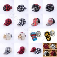 Wholesale ponytail hat for sale - Group buy Buffalo Plaid Ponytail Hat Styles Woman Sunflower Washed Mesh Criss Cross Ponytail Baseball Cap Trucker Hat CYZ2857