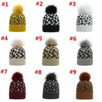 Wholesale blue bonnets resale online - Leopard Pom Pom Beanies Women Winter Warm Knitted Hat Bonnet Pom Beanie Fashion Knit Caps Wool Hats Colors OWD2910