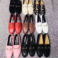 classic women Flat Dress shoes 100% Authentic cowhide Metal buckle Lady leather casual shoe Mules Princetown Men Printed Trample Lazy Slides Loafers Large size 34-46