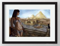 Wholesale egypt painting for sale - Group buy A Egypt Pyramids The Cat Handpainted HD Wall Art Print Original Oil Painting on Canvas high quality Home Decor Multi Size Framed Unfra