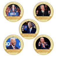 Wholesale silk carves resale online - Joe Biden Gold Plated Coin Collectibles with Coin Holder USA Challenge Coins President Original Coin Medal Gifts for Dad FWE3157