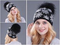Wool blended hat Real Mink Pom Poms Wool Rabbit Fur Knitted Hat Skullies For Women Girls Cap Beanies Christmas Snow Hat