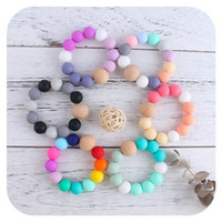 2021 new DIY baby silicone teething beads Newborn Teething Ring Infant Wood Ring Teethers Baby Toy Colorful Silicon Beaded Soother B3439