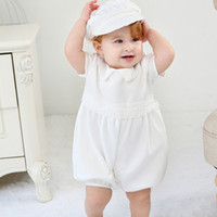 Discount hat romper baby costumes 2pcs Set Baby Boy Clothes Shorts Romper Beret Hat Christening Pageant Party Outfit Baby Photo Shoot Costume Cute Boy Clothes Y1113