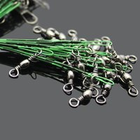 Wholesale wired shark resale online - 20pcs Fishing Lure Line Trace Wire Leader Swivel Tackle Spinner Shark cm Fishing Cord Rope Leader Trace Swivel sqcHZW