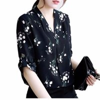 Discount simple shirt blouse Plus Size Five-point Sleeve Chiffon Shirt Female Floral Print Cold Wind Was Thin Button Decoration Simple Commuter Blouse Women