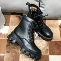 Wholesale goth boots resale online - Woman Autumn Winter Boots Ladies Chunky Wedge Platform Black Patent Leather Ankle Boots Punk Goth Botas Mujer New Arrival
