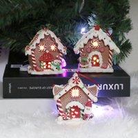 Wholesale houses christmas lights for sale - Group buy Christmas LED Candle Light Wood House Hanging Christmas Tree Ornament Home Holiday Decoration Nice Wedding Xmas Gift T1I3019