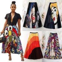 Wholesale swing patterns resale online - 2020 Brand Summer Women Pleated Skirts Printed Cartoon Pattern Empire Elastic Women Midi Skirt Swing Party Holiday High Street