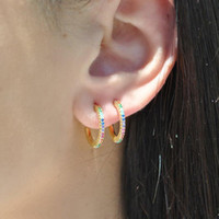 colorful cz hoops earring 925 sterling silver fine jewelry mini small hoop colorful stone summer design fashion nice ear jewelry