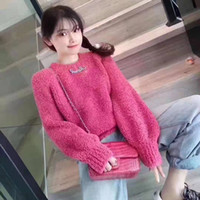 Web celebrity autumn winter knitted sweater with long sleeves and thick warm pullover sweater with bubble sleeves