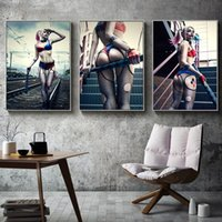 Wholesale sexy girls oil painting for sale - Group buy Harley Quinn Suicide Squad DC Comics Movie Poster Prints Canvas Painting Sexy Girl Wall Art Picture for Living Room Bedroom Home Decor