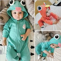 Wholesale baby clothes frogs resale online - Cute Frog Earmuff Jumpsuit Boy Girl Newborn Solid Color One Piece Baby Clothes Pajamas