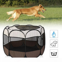 Wholesale outdoor cat cages resale online - Portable Outdoor Kennels Fences Dog Tent Houses For Dogs Foldable Indoor Puppy Cats Pet Cage Octagon Fence