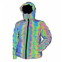 Wholesale reflecting jacket for sale - Group buy Colorful Rainbow Reflective Winter Jacket Women Windbreaker Reflecting Glow Hooded Parka Young Men Warm Padded Coat