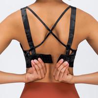 Adjustable Sports Bra Women Tank Camis Cross Back Buckle Gathered Shockproof Underwear Gym Clothes Running Yoga Tops