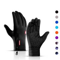 Outdoor Cycling Waterproof Gloves Touch Screen Windproof Zipper Sport Autumn Winter Warm Velvet Mountain Skiing Gloves DHL Free