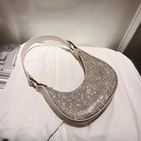 Wholesale shining handbags resale online - Shine Diamond Hobos Handbags Women Shoulder Crossbody Bags Luxury Design Chain Ladies Messenger Bags Totes Female Purses
