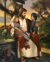 Wholesale canvas children wall art resale online - Catholic picture JESUS WITH CHILDREN Home Decor Handcrafts HD Print Oil Painting On Canvas Wall Art Canvas Pictures