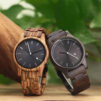 Wholesale mens wooden watches for sale - Group buy Auto Date Luxury Wood Watch Men Unique Wooden Watches Fashion Creative Mens Watch Men Watch Wooden Clock reloj hombre erkek kol saati