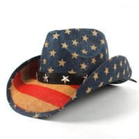 Discount straw flags USA American Flag Women Men Straw Cowboy Hat For Dad Western Sombrero Hombre Cowgirl Jazz Caps Size 58CM1