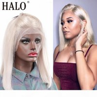 Wholesale silver blonde hair resale online - Ash Blonde Silver Gray Colored Short Bob x4 Lace Front Human Hair Wigs Transparent Frontal Wig Glueless Pre Plucked Bleached
