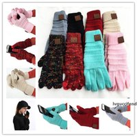 Wholesale winter gloves resale online - CC Knitting Touch Screen Glove Capacitive Gloves CC Women Winter Warm Wool Gloves Antiskid Knitted Telefingers Glove Christmas Gifts