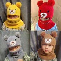 Wholesale boys earflap crochet hat resale online - Baby Cartoon Bear Boy Girl Sky Winter Warm Knitted Crochet Earflap Beanie Double Ball Kids Hats Cap