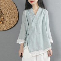 Ethnic Clothing Women Linen Shirt Tops Chinese Style Vintage Cardigan Coat Fairy Tai Chi Uniform Tang Suit Breathable Casual Hanfu1